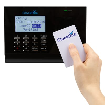 ClockRite C100 Proximity Clocking System with RFID Clocking Card