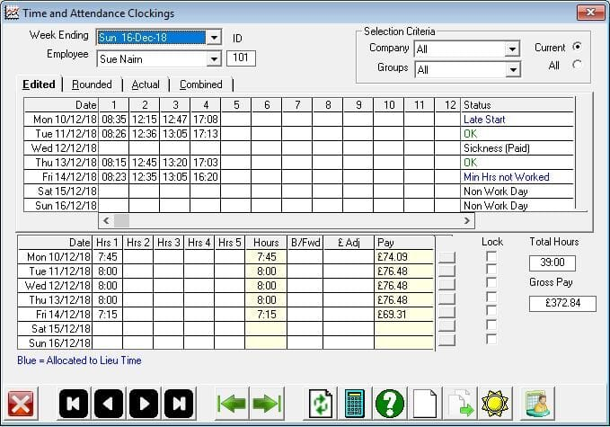 ClockRite Software Timesheet